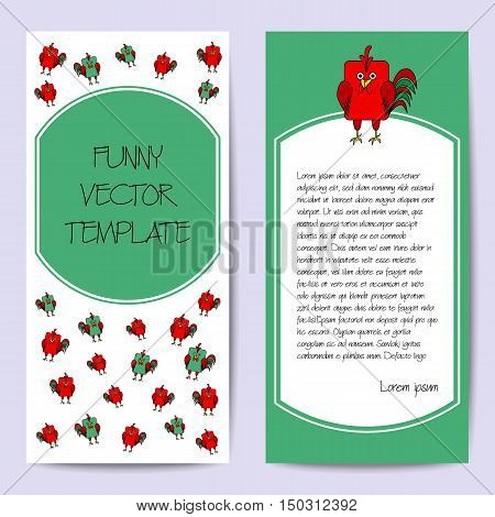 Stock vector cards template for children's birthday party. Flat bird design. Rounded rectangle green and red rooster cock. Symbol of year 2017. Template for poster banner greeting card invitation.