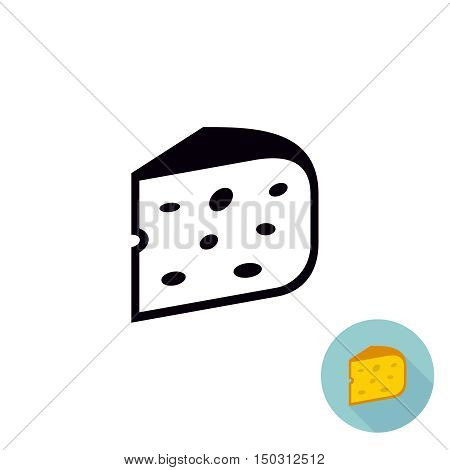 Cheese black icon. Piece of cheese isolated. One color illustration. Flat version included.