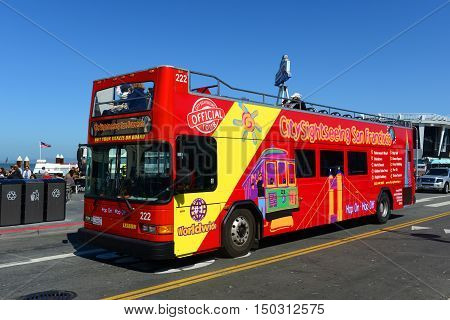 SAN FRANCISCO - MAR 14: City Sightseeing tour bus at Fisherman's Wharf on March 14, 2014 in San Francisco, California, USA