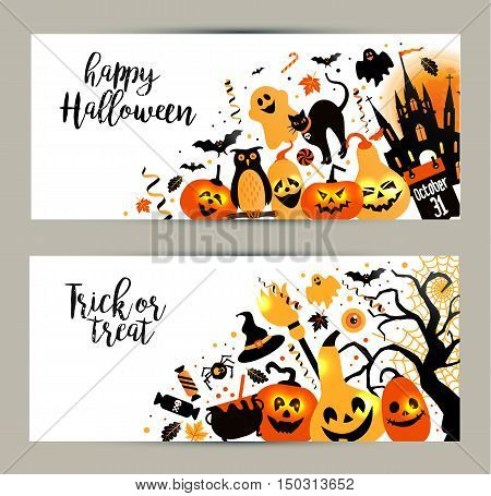 Halloween Banners Set On White Background. Invitation To Night Party.