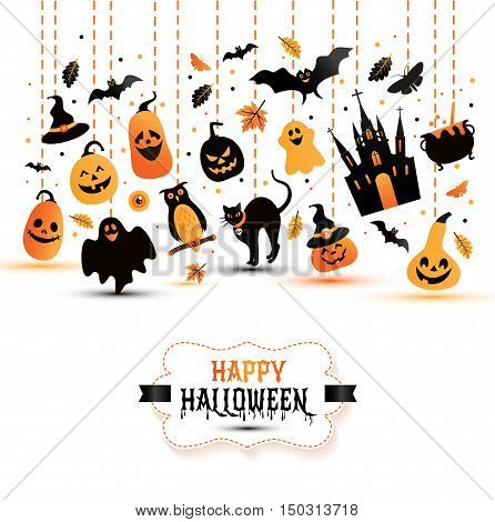 Halloween Banner On White Background. Invitation To Night Party