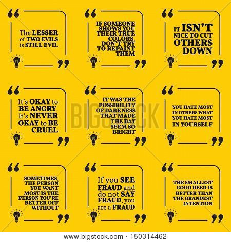 Set Of Motivational Warning Quotes About Evil, Darkness, Hate, Fraud And Good Deed. Simple Note Desi