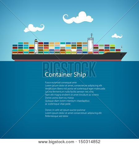 Cargo Container Ship and Text, Industrial Marine Vessel with Containers on Board, International Freight Transportation, Poster Brochure Flyer Design, Vector Illustration