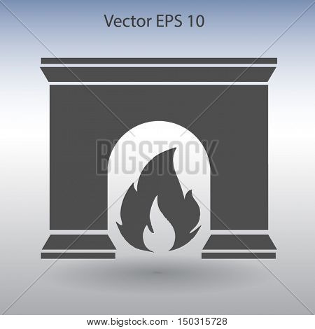burning fireplace vector illustration
