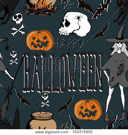Halloween. Hand drawn seamless pattern. Witch, skulls, pumpkins, black cat, bats, magic potion, bones.