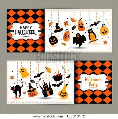 Halloween Banners Set On Colors Background. Invitation To Night Party.