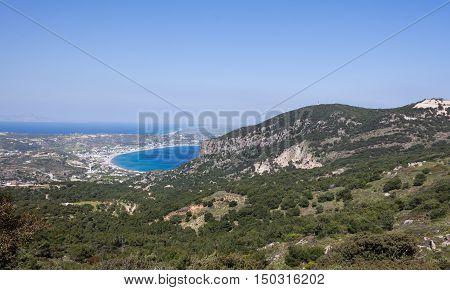 Panoramic mountain and sea view of Kos island Greece