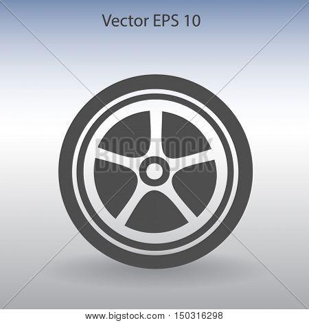 Flat wheel icon. Vector