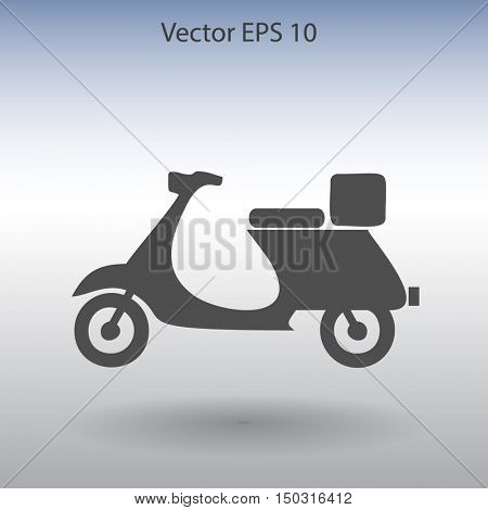 Flat moped icon. Vector