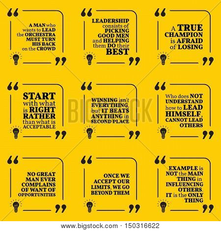 Set Of Motivational Quotes About Leadership, Helping, Champion, Opportunity, Limits, Example And Win