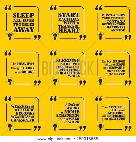 Set Of Motivational Quotes About Sleeping, Heart, Attitude, Grudge, Hope, Worry And Happiness. Simpl