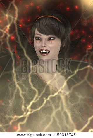 3D Rendering Lady Vamp