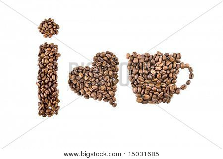 i love coffee. Symbols from coffee beans isolated on white