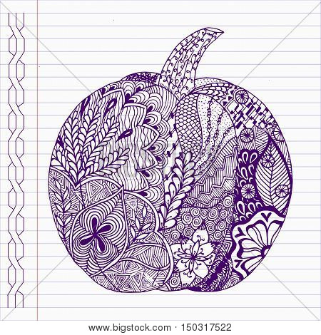 Hand drawn pumpkin in doodle style on notebook page.
