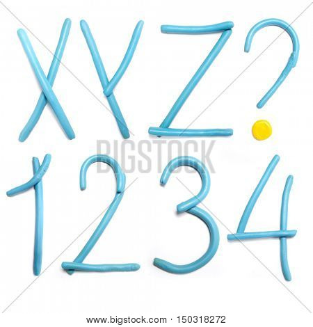 Blue plasticine alphabet, isolated.