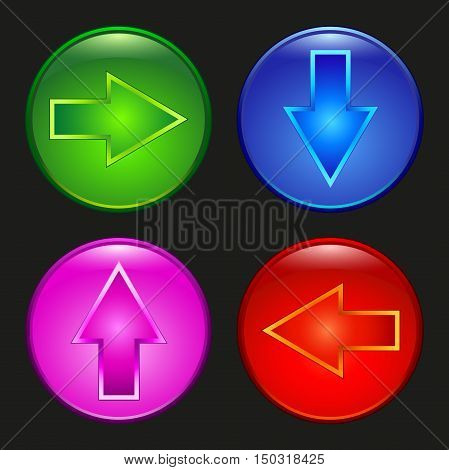 Colored buttons indicate the direction of movement and action