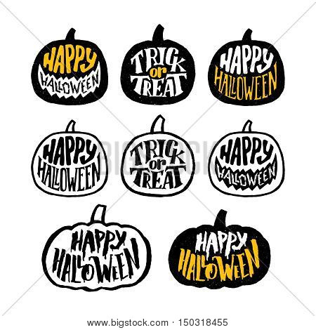 Happy Halloween typography message on pumpkin shape badges. Trick or Treat hand lettering labels collection design. Vector set of decoration elements for Halloween Party