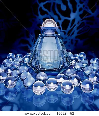 Crystal bottle of perfume and crystal spheres on a dark blue background. 3D illustration