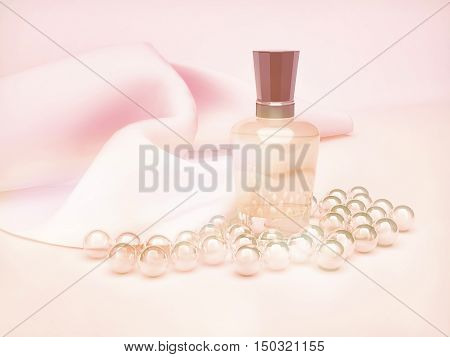 Perfume in a glass bottles and pearl beads on pink. 3D illustration