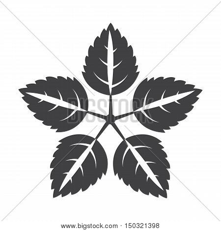 leaves black simple icon on white background for web design