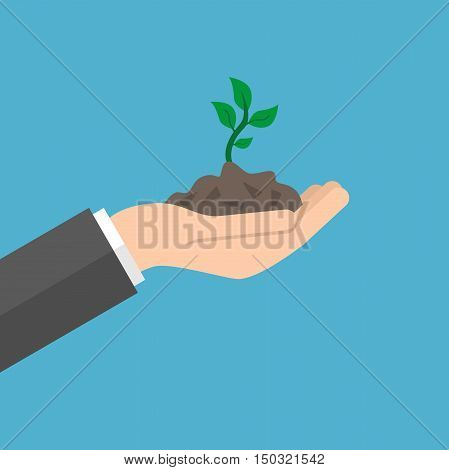 Open hand holds young sprout on blue background. Care new life and success concept. Flat design. Vector illustration. EPS 8 no transparency