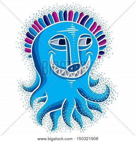 Character Monster Vector Flat Illustration, Smiling Cute Blue Mutant. Drawing Of Weird Beast, Emotio
