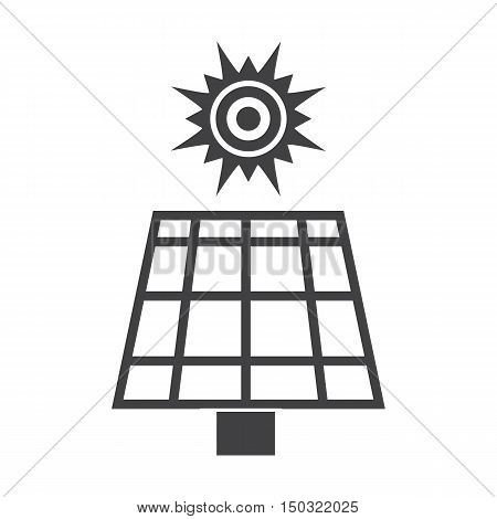 solar battery black simple icon on white background for web design