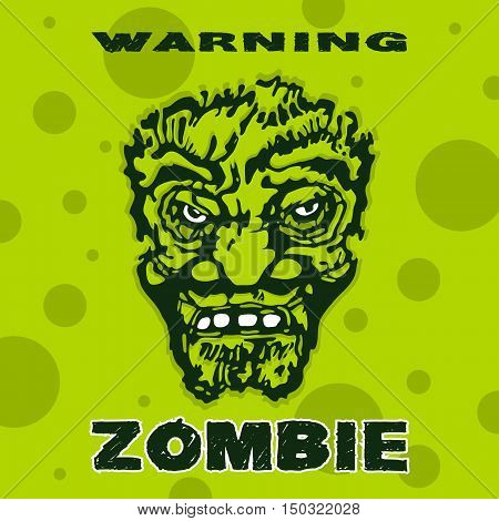 Zombie head a stylized image of a green background. Halloween. Poster vector design. Stock vector illustration.