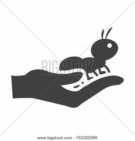 hand black simple icon on white background for web design