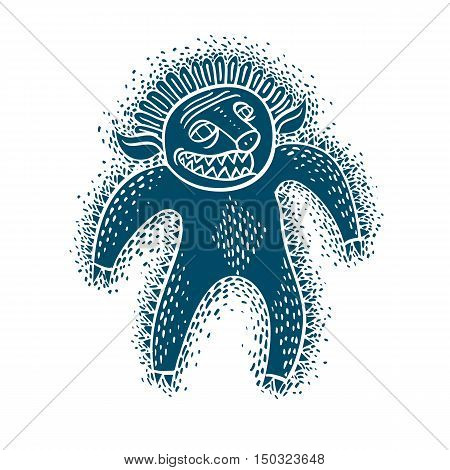 Character Monster Vector Flat Illustration, Blue Mutant, Devil. Drawing Of Weird Beast, Emotional Ex