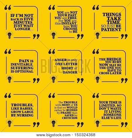 Set of motivational quotes about past waiting pain anger troubles criticism and time. Simple note design typography poster. Vector illustration