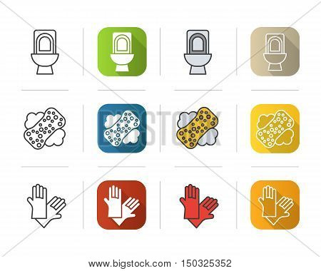 Cleaning tools icons set. Flat design, linear and color styles. Toilet, sponge with foam, latex gloves symbol. Isolated vector illustrations