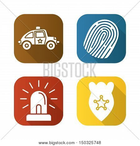 Police flat long shadow icons set. Car, finger print, flasher, police badge. Isolated vector illustration