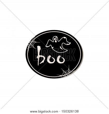 Scary halloween design logo. Halloween sticker. Scrapbook elements. Vector illustration. Trick or Treat Concept. Halloween symbol - Scary ghost.