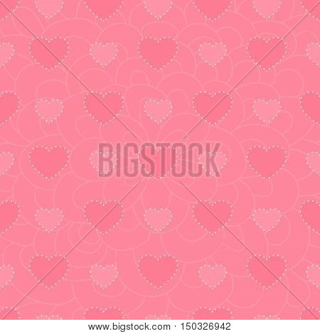 Vector background of pink fishnet hearts. greeting decoration.