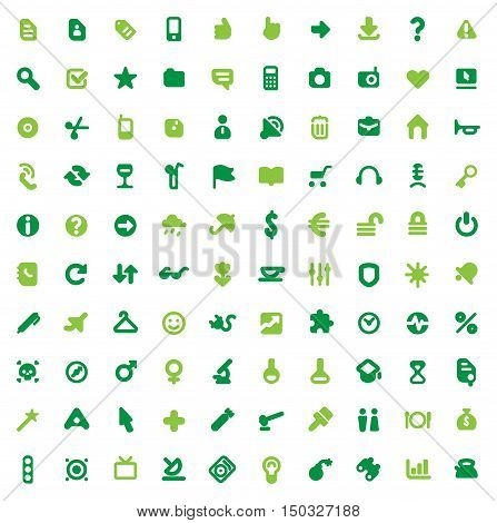 Set of one hundred green icons for website interface business designs finance security and leisure. Vector illustration.