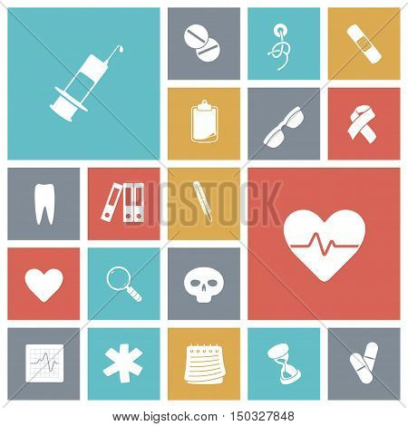 Flat design icons for medical. Vector illustration.