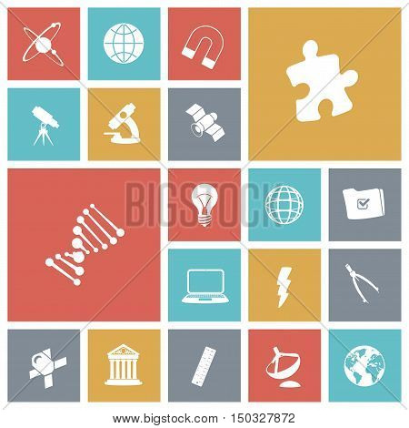 Flat design icons for science. Vector illustration.