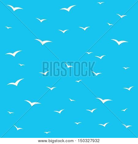 Seagulls swarm or other birds silhouette seamless pattern background. White on blue skies.