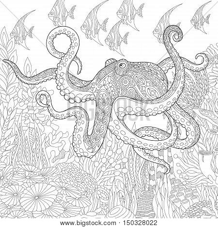 Stylized composition of giant octopus tropical fish underwater seaweed and corals. Freehand sketch for adult anti stress coloring book page with doodle and zentangle elements.