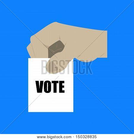 Hand Holding A Ballot Vote Paper Illustration