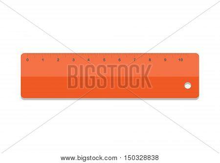 Ruler icon vector illustration. School icon symbol ruler education equipment. Orange ruler tool.