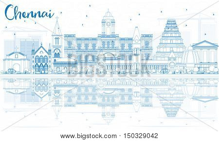 Outline Chennai Skyline with Blue Landmarks and Reflections. Business Travel and Tourism Concept with Historic Buildings. Image for Presentation Banner Placard and Web Site.