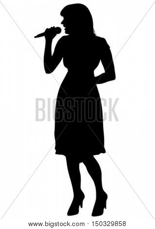 Women whit microphon of jazz music on white background