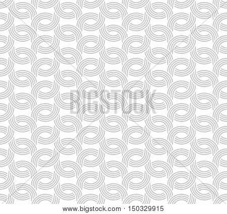 Parallel Rounded Weave Lines Seamless Pattern. Gray Light Pale Color.