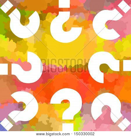 Question marks on bright colorful abstract background