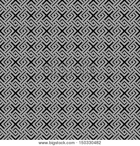 Geometric Weave Cross Squares Seamless Pattern. Black And White Contrast Colors. White Elements On B