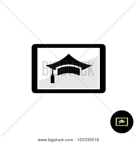 Tutorial webinar learning course online on a tablet pc. Internet or other interactive education concept.