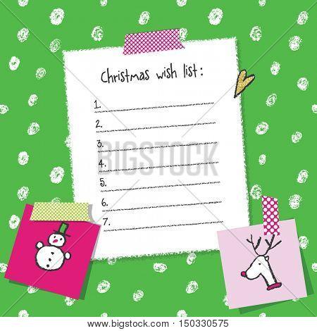 Christmas wish list template. Hand drawn elements. Printable design.