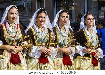 SELARGIUS, ITALY - September 11, 2016: Former marriage Selargino - Sardinia - portrait of beautiful girls in traditional Sardinian costume